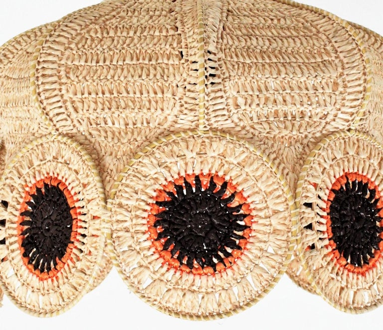 Spanish Modernist Large Pendant Lamp in Beige, Orange and Brown Macramé In Good Condition In Barcelona, ES