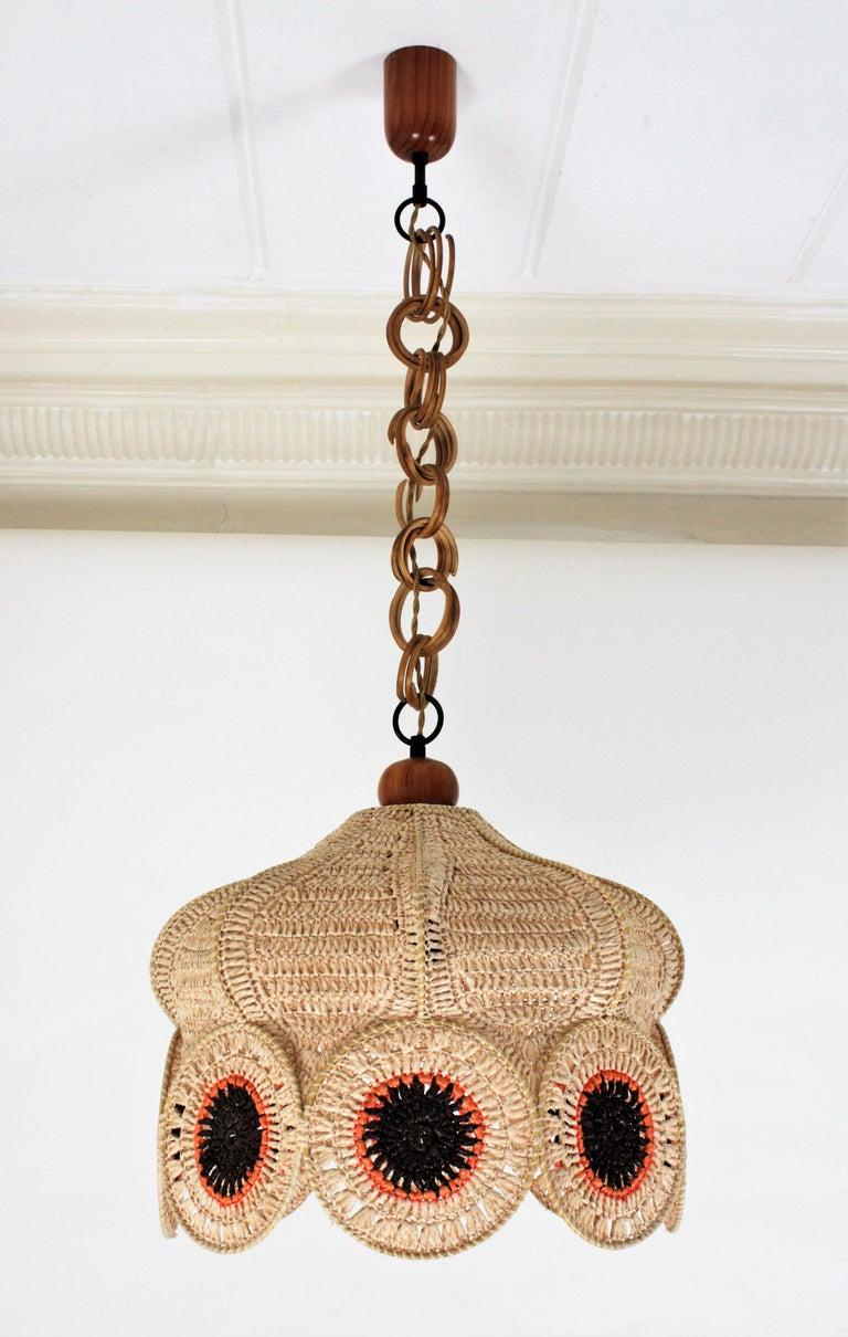 Acrylic Spanish Modernist Large Pendant Lamp in Beige, Orange and Brown Macramé