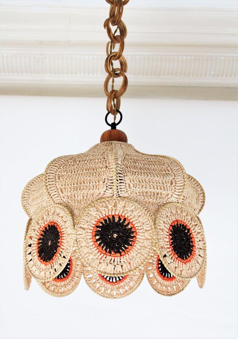 Spanish Modernist Large Pendant Lamp in Beige, Orange and Brown Macramé 1