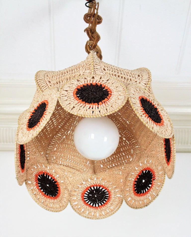 Spanish Modernist Large Pendant Lamp in Beige, Orange and Brown Macramé 2