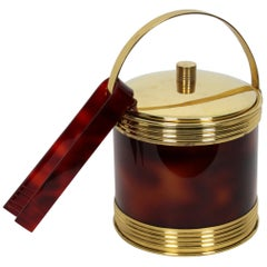 Spanish Modernist Faux Tortoise Shell and Brass Ice Bucket with Tongs