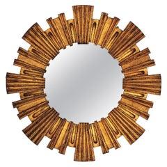 Spanish Modernist Giltwood Sunburst Mirror by Francisco Hurtado, 1950s