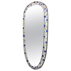 Spanish Modernist Oval Mosaic Mirror with Silver and Blue Mirrored Glasses