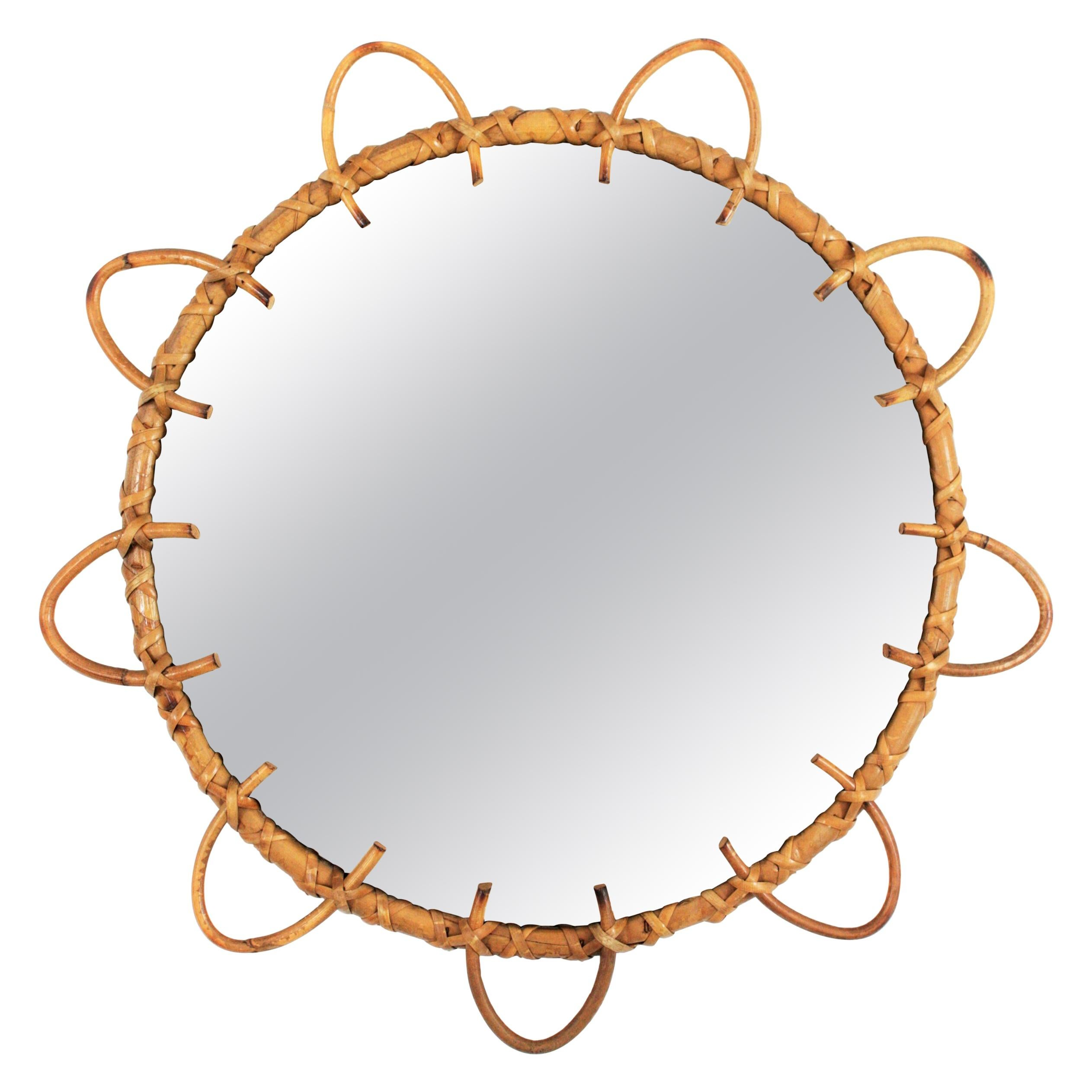 Spanish Modernist Rattan and Bamboo Flower Shaped Round Wall Mirror, 1960s