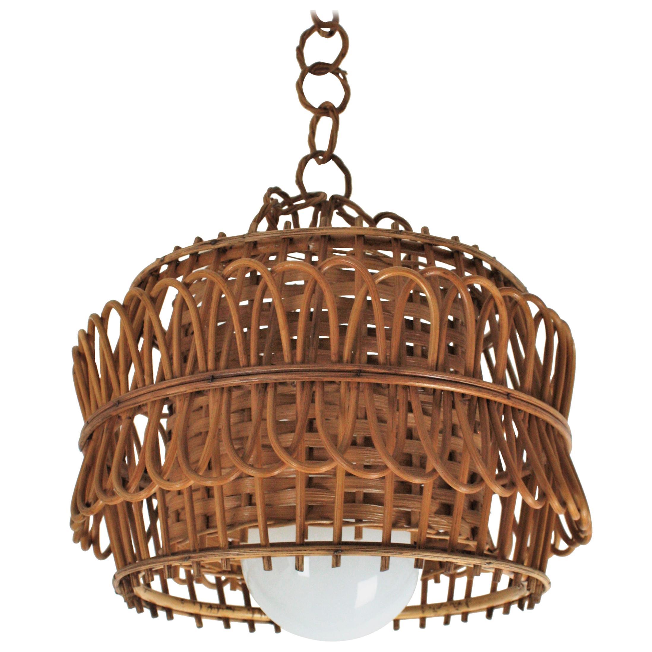 Spanish Modernist Rattan Pendant Lamp / Hanging Light with Woven Wicker Shade