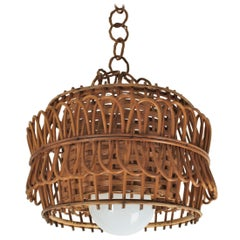 Spanish Modernist Rattan Pendant Lamp / Hanging Light with Woven Wicker Shade