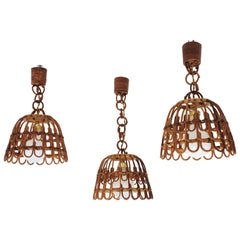 Wicker and Rattan Pendant Hanging Lamps, Set of Three