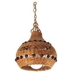 Spanish Modernist Wicker and Rattan Pendant Hanging Light with Ball Details