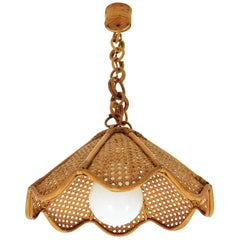 Spanish Modernist Woven Rattan and Bamboo Palm Pendant Lamp or Chandelier, 1960s