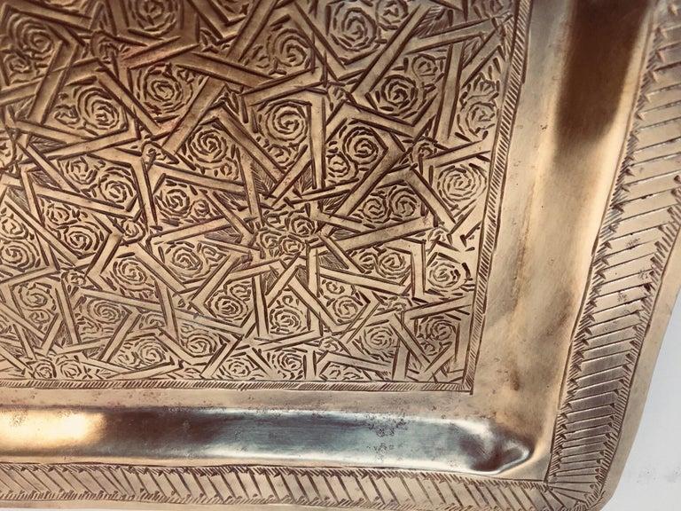 Moroccan Moorish Rectangular Brass Tray Wall Hanging For Sale 4
