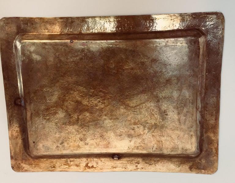 Moroccan Moorish Rectangular Brass Tray Wall Hanging For Sale 5