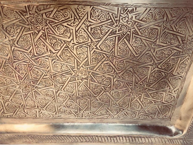 Hand-Carved Moroccan Moorish Rectangular Brass Tray Wall Hanging For Sale