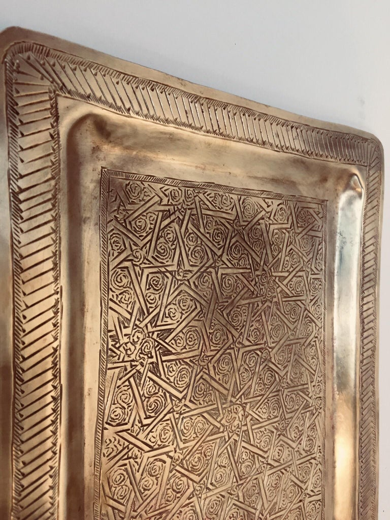 Moroccan Moorish Rectangular Brass Tray Wall Hanging In Good Condition For Sale In North Hollywood, CA
