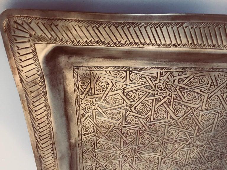 20th Century Moroccan Moorish Rectangular Brass Tray Wall Hanging For Sale