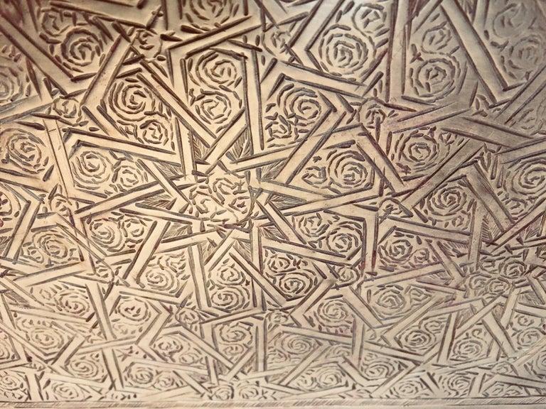Moroccan Moorish Rectangular Brass Tray Wall Hanging For Sale 2
