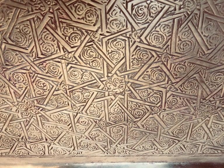 Moroccan Moorish Rectangular Brass Tray Wall Hanging For Sale 3