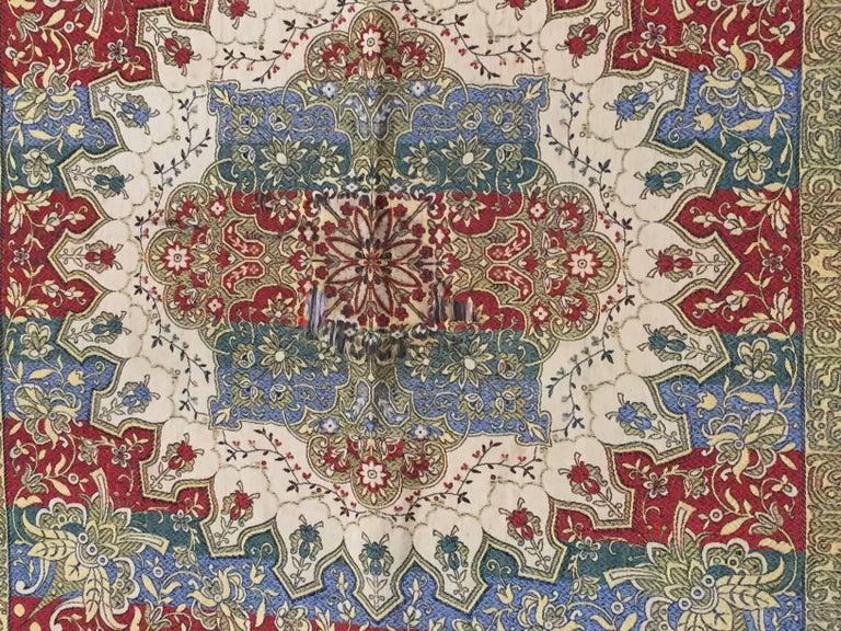 Silk Spanish Moorish Wall Hanging Tapestry with Arabic Writing For Sale