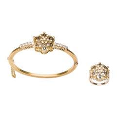 Spanish Neo-Renaissance Set of Ring and Bracelet in 18k Gold, Diamonds & Enamel