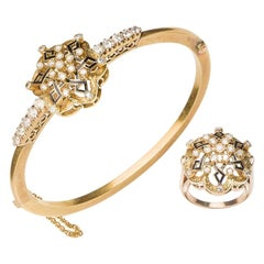 Spanish Neo-Renaissance Set Ring & Bracelet in 18 Karat Gold, Diamonds & Enamel