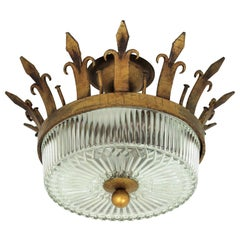 Spanish Neoclassical Gilt Iron Fluted Glass Flush Mount Ceiling Light, 1940s