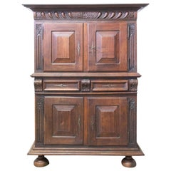 Spanish Oak Cabinet Deux Corps Buffet Gothic Revival, Late 19th Century