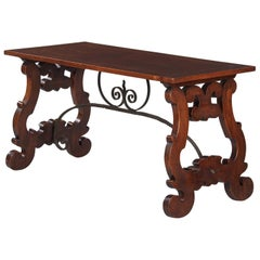 Spanish Oak Console Table with Iron Stretcher, Early 1900s
