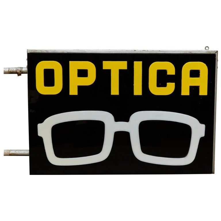 Spanish Optical Store Light Signal Black Yellow and White, circa 1970 For Sale