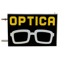 Spanish Optical Store Light Signal Black Yellow and White, circa 1970
