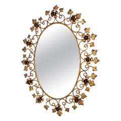 Spanish Oval Floral Mirror in Gilt Metal, Hollywood Regency Style
