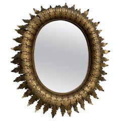 Spanish Oval Sunburst Mirror with Double Layered Leaves