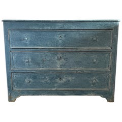 Spanish Painted Blue Three-Drawer Chest with Wooden Pulls