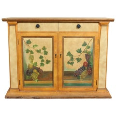 Spanish Painted Cabinet Papered Cupboard