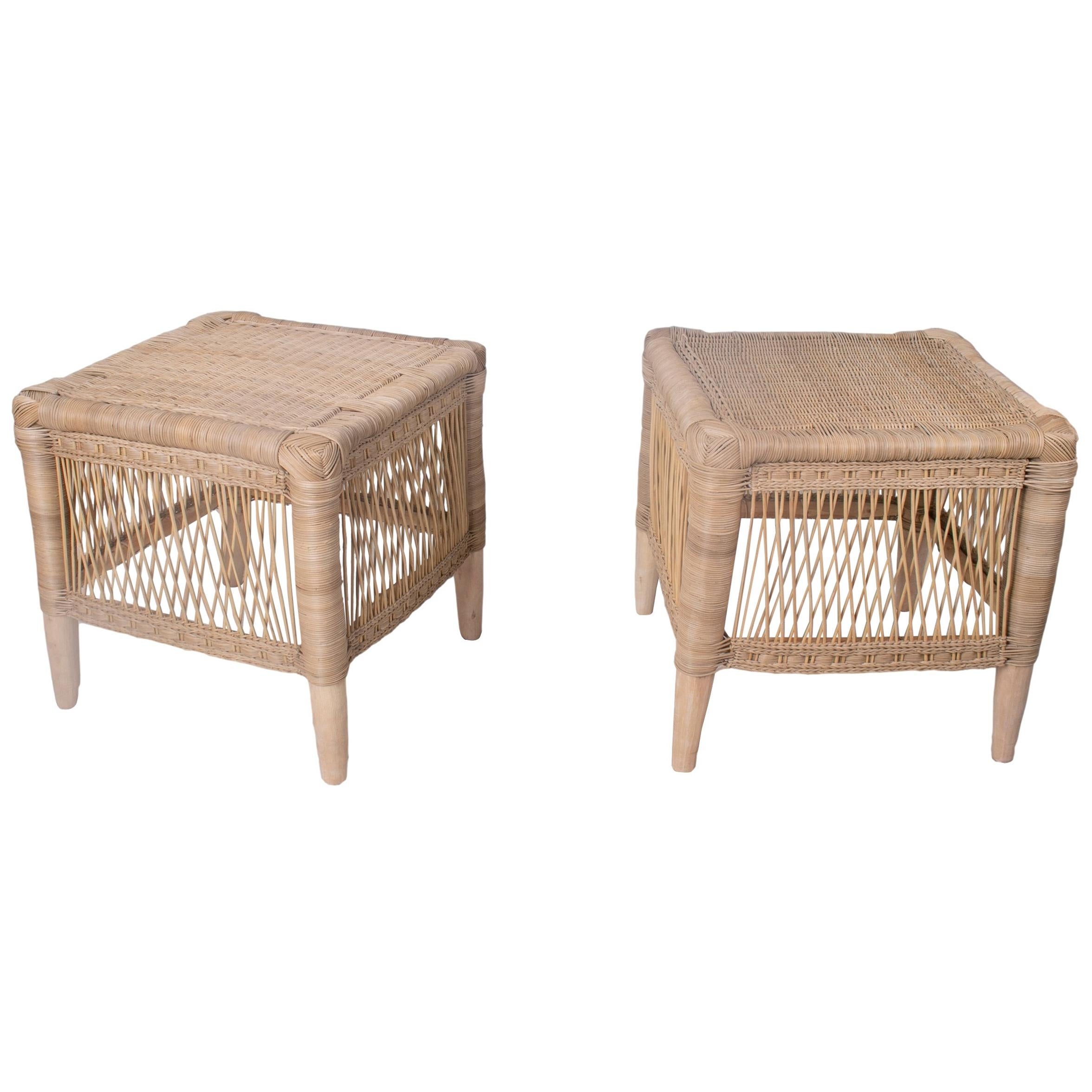 Spanish Pair of Hand Woven Rattan Low Stools