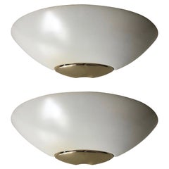 Spanish Pair of White Golden Metal Wall Sconces by Metalarte, Barcelona, 1980s