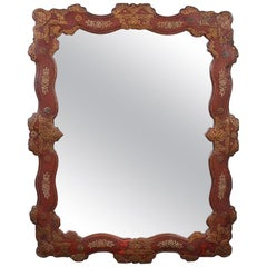 Spanish Parcel Gilt Red Leather Mirror