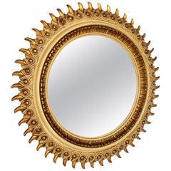 Spanish Parcel-Gilt Sunburst Mirror, 1950s