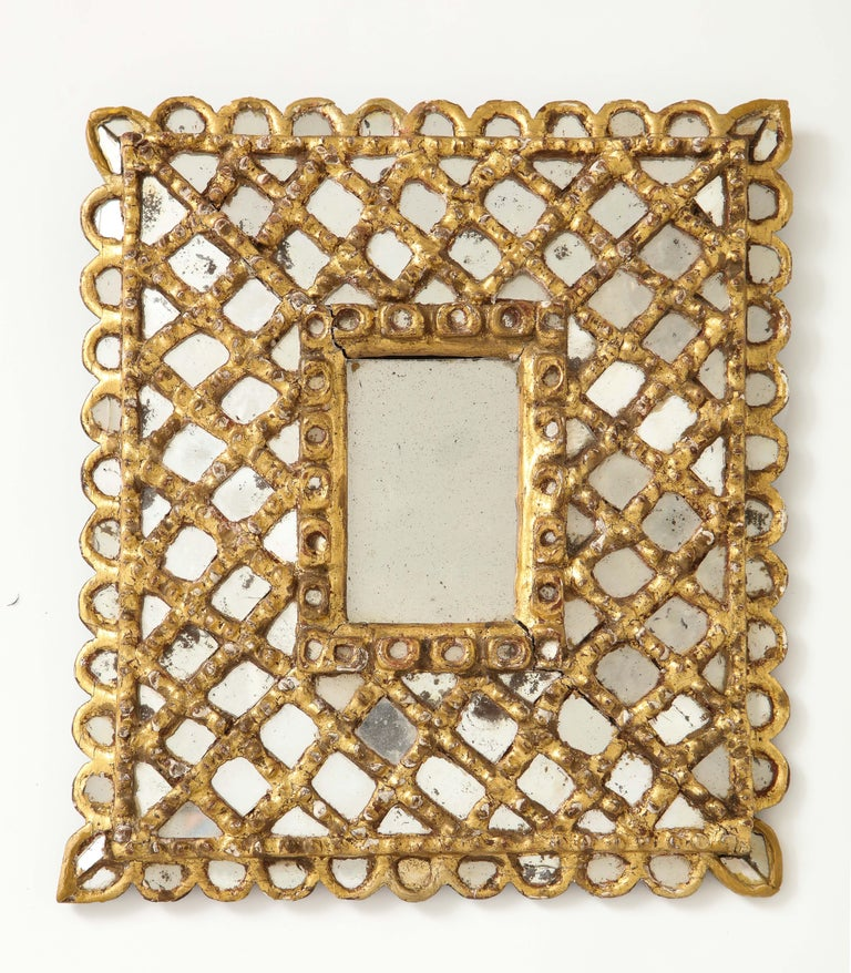 Spanish Petite Gilded and Carved Wood Mirror For Sale 6