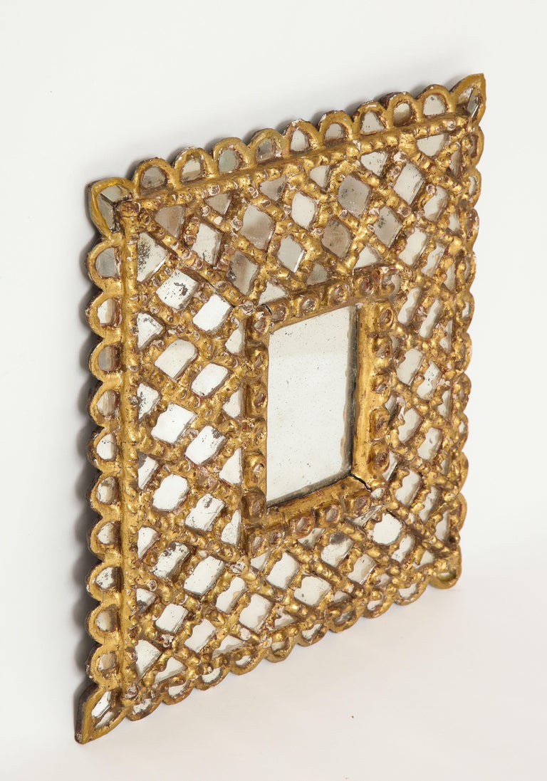 Spanish Petite Gilded and Carved Wood Mirror In Good Condition For Sale In New York, NY
