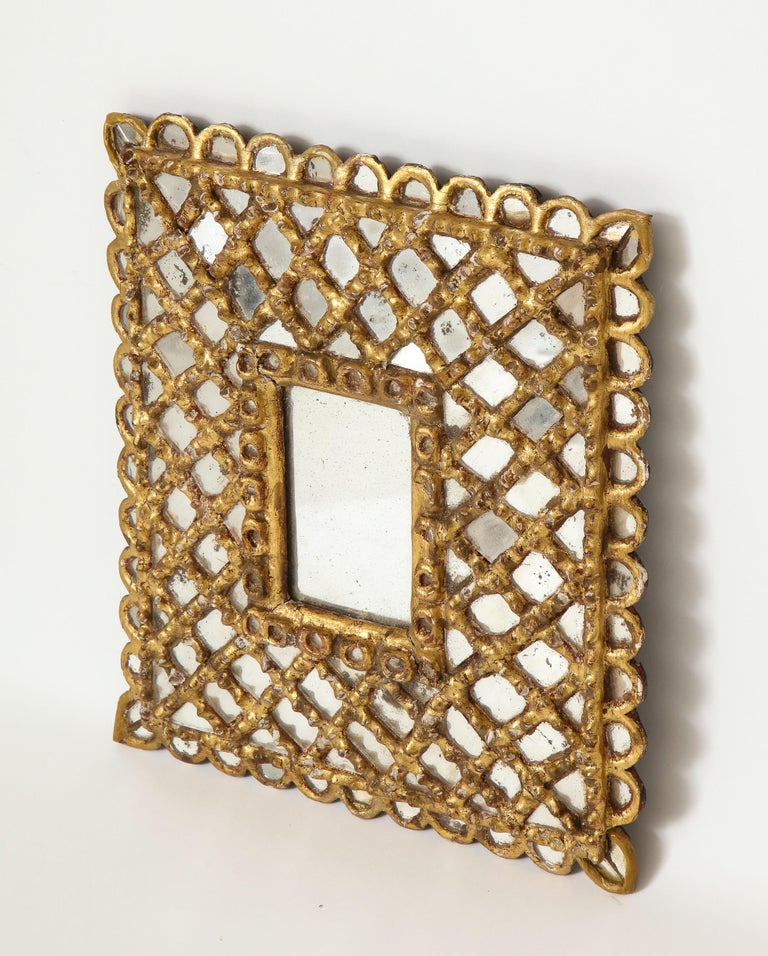 Spanish Petite Gilded and Carved Wood Mirror For Sale 2