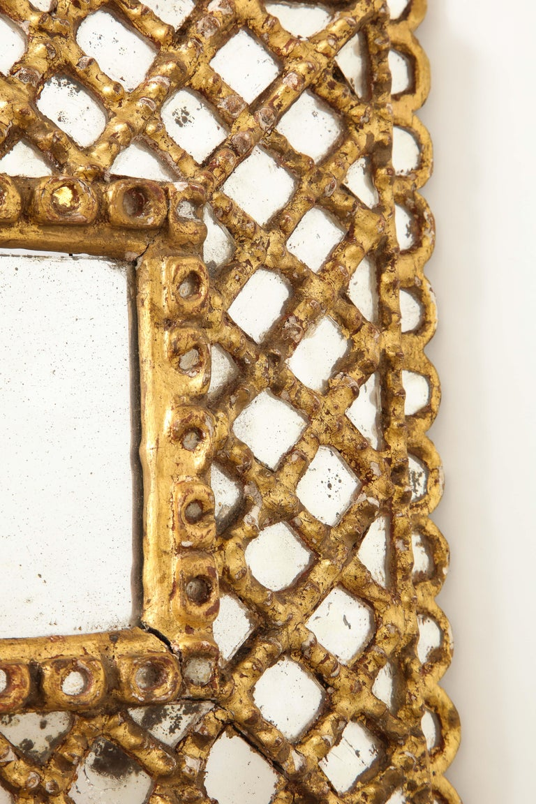 Spanish Petite Gilded and Carved Wood Mirror For Sale 4