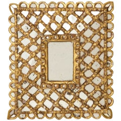 Spanish Petite Gilded and Carved Wood Mirror