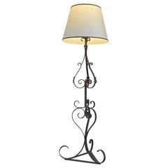 Spanish Pierre Lottier 1960s Wrought Iron Floor Lamp with One-Light and Shade