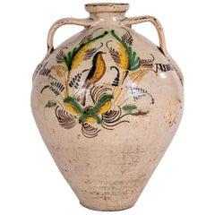 Spanish Puente del Arzobispo Glazed Ceramic Jar