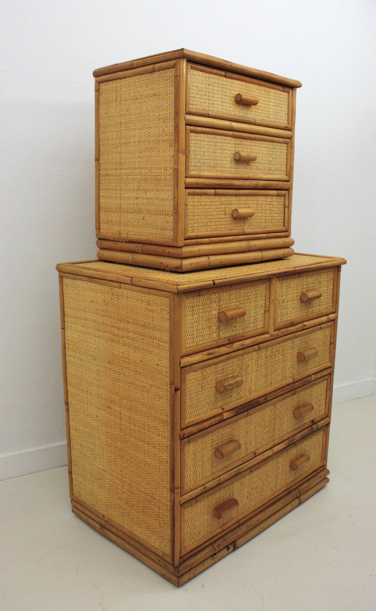 Spanish Rattan and Bamboo Three-Drawer Small Chest End Table Stand, 1970s For Sale 4