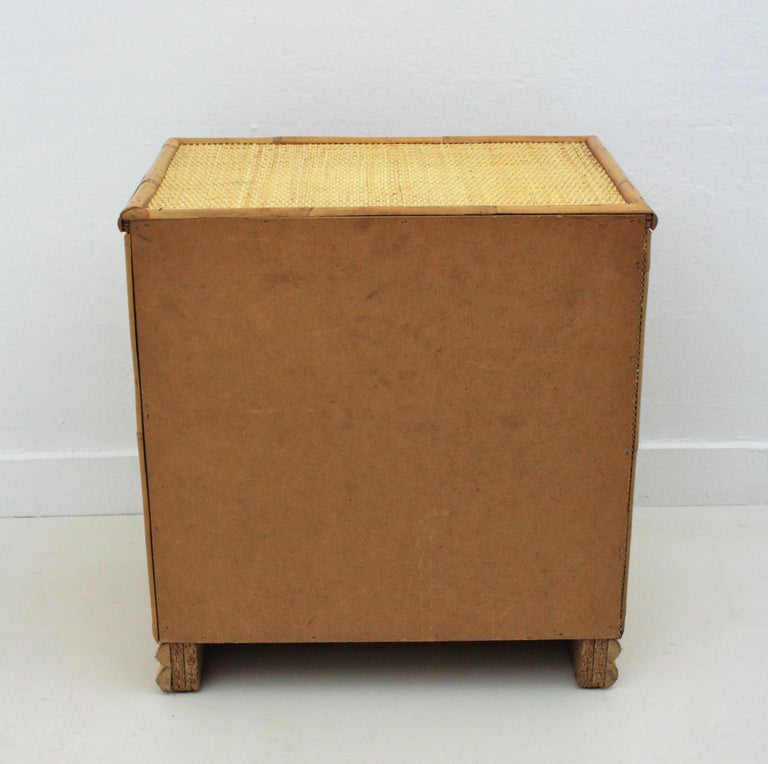 Spanish Rattan and Bamboo Three-Drawer Small Chest End Table Stand, 1970s For Sale 5