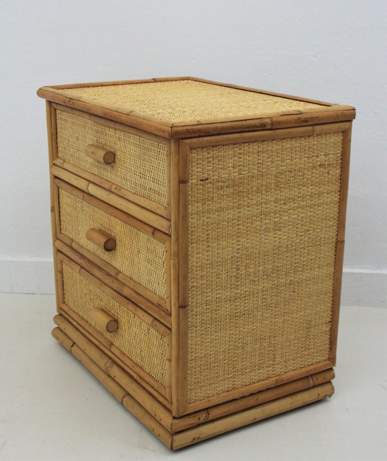 Spanish Rattan and Bamboo Three-Drawer Small Chest End Table Stand, 1970s For Sale 6