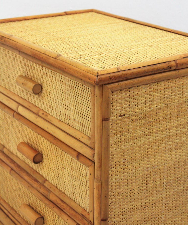 Mid-Century Modern Spanish Rattan and Bamboo Three-Drawer Small Chest End Table Stand, 1970s For Sale