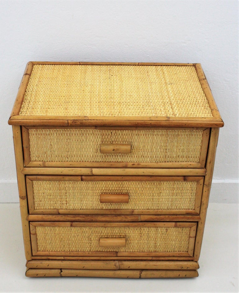 Woven Spanish Rattan and Bamboo Three-Drawer Small Chest End Table Stand, 1970s For Sale