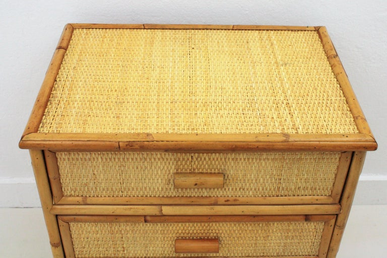 Spanish Rattan and Bamboo Three-Drawer Small Chest End Table Stand, 1970s In Good Condition For Sale In Barcelona, ES