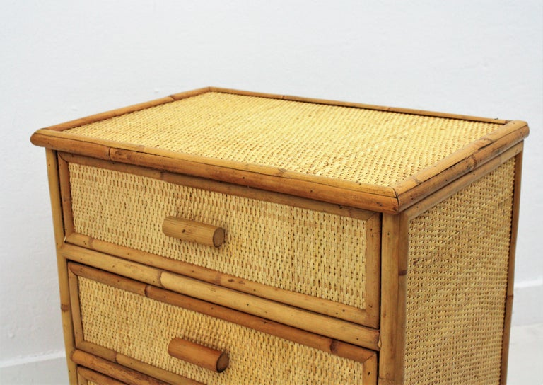 20th Century Spanish Rattan and Bamboo Three-Drawer Small Chest End Table Stand, 1970s For Sale